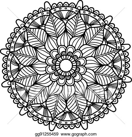 Adult coloring clipart clipart black and white library EPS Vector - Vector image for adult coloring book mandala doodle ... clipart black and white library