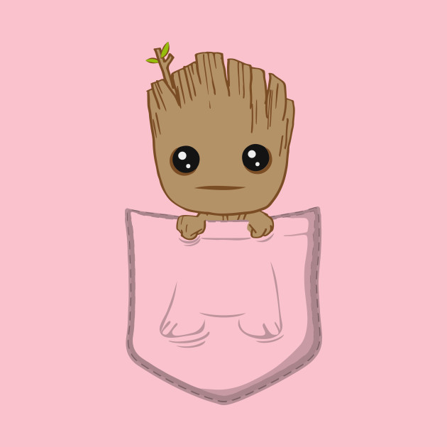Pocket Groot clipart black and white
