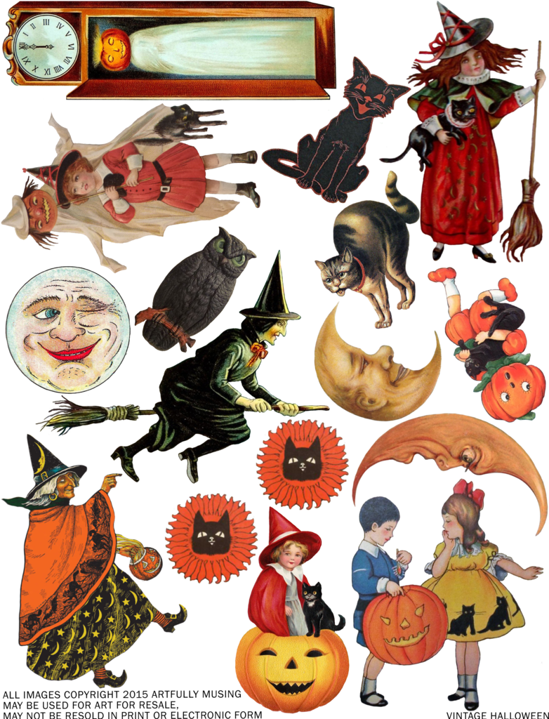 Clipart halloween cutouts black and white stock Artfully Musing: FREE VINTAGE HALLOWEEN COLLAGE SHEET - HAPPY ... black and white stock