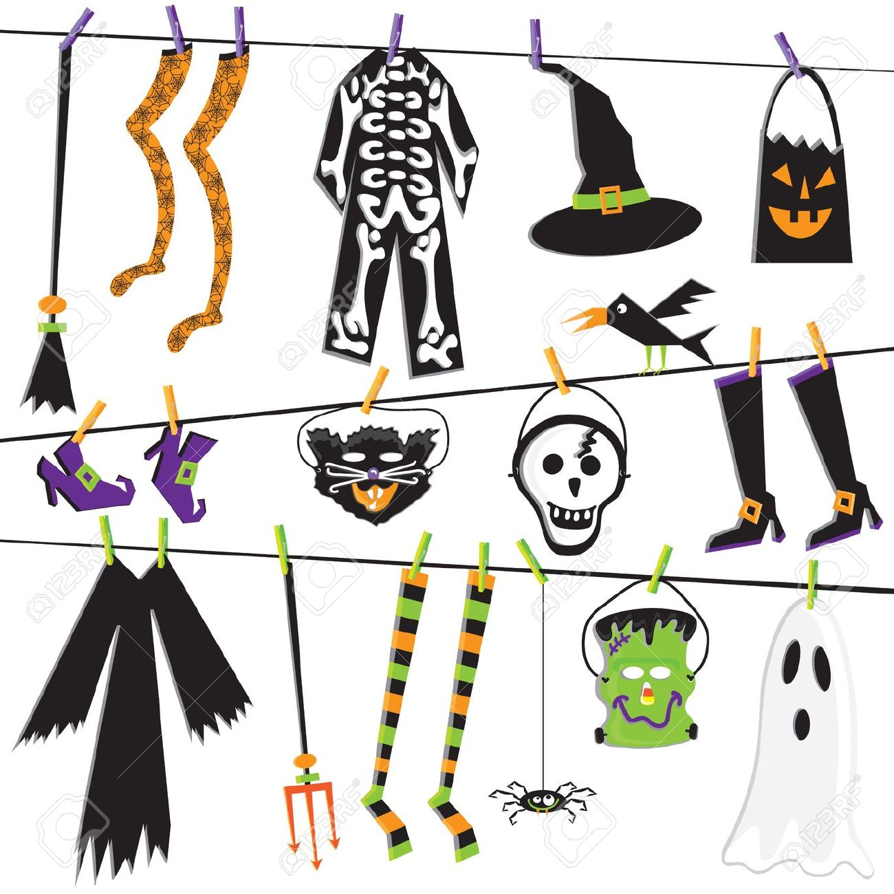 Adult halloween clipart black and white download Halloween Costume Clothesline | Clipart Panda - Free Clipart Images black and white download