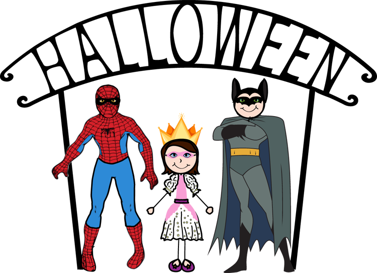 Halloween cute kids in costum clipart