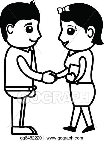 Adult kid handshake clipart clipart black and white Vector Illustration - Cartoon boy and girl shaking hands. Stock Clip ... clipart black and white