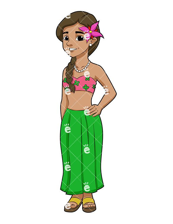 Adult male exotic clipart picture library A Cute Brunette Hawaiian Girl With A Flower In Her Hair | Clipart Of ... picture library