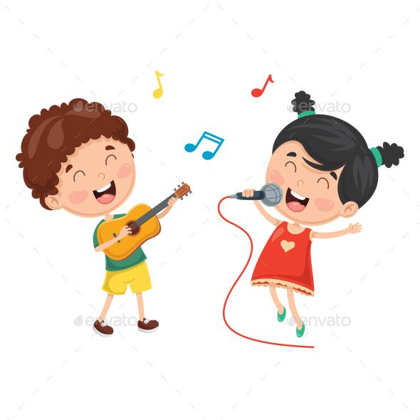 Adult playing with child clipart svg library download Vector Illustration Of Kids Playing Music And Singing | Design ... svg library download