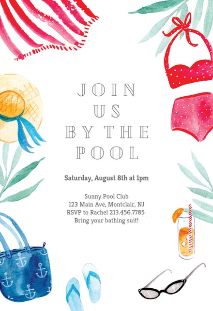 Adult pool party clipart svg download Pool Party Invitation Templates (Free) | Greetings Island svg download