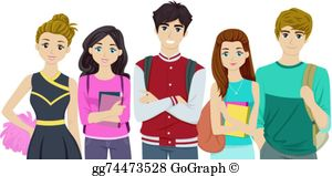 Teens clipart clip black and white stock Adult Students Clip Art - Royalty Free - GoGraph clip black and white stock