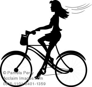 Clipart of a little girl riding a bike picture freeuse download Clip Art Image of a Girl Riding a Bike Silhouette - Acclaim Stock ... picture freeuse download