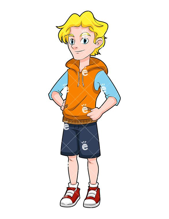 Blonde kid clipart clipart royalty free A Young Teenage Boy With Blonde Hair Wearing Shorts   Clipart Of Men ... clipart royalty free