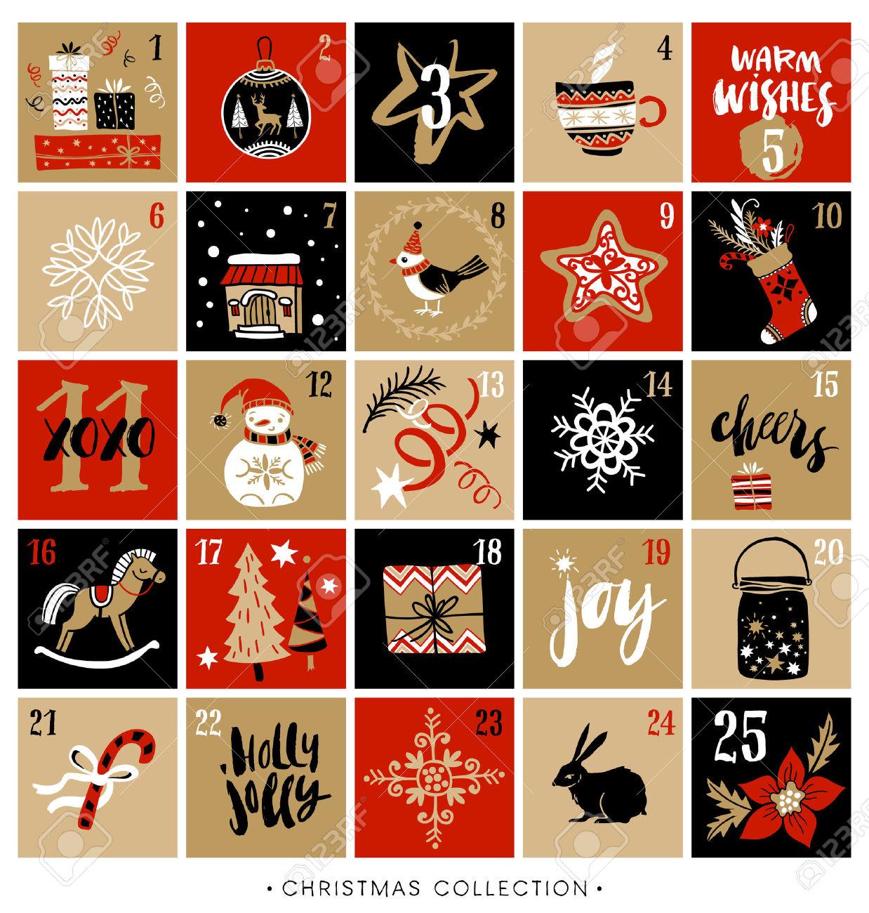 Advent calendar 2016 free clipart clip Advent Calendar 2017 Clipart Free Printable | Calendar Template clip