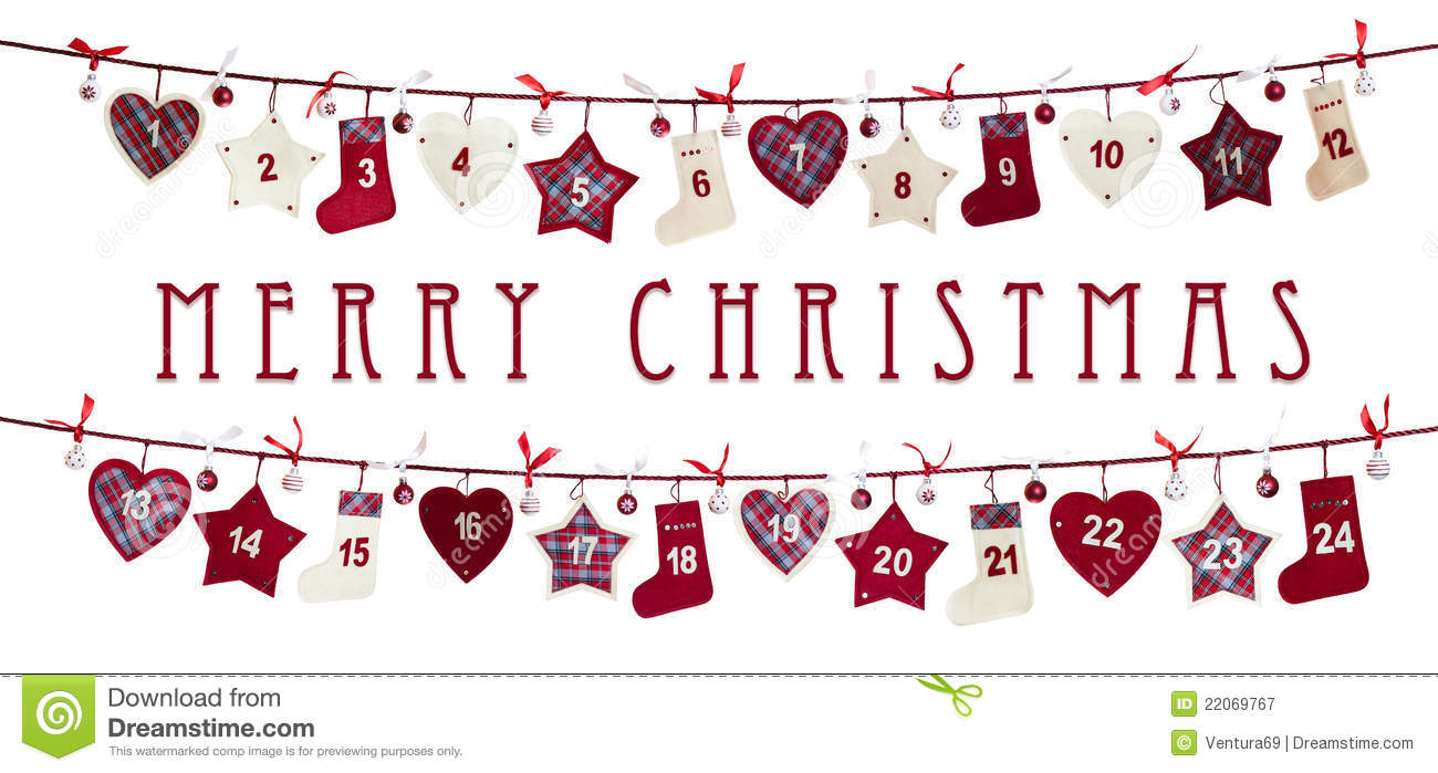 Free christmas template . Advent calendar clipart