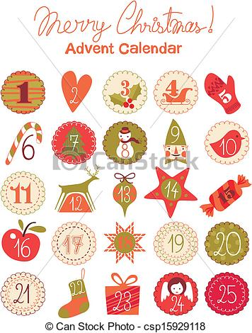 Advent calendar clipart banner download Vector Clip Art of Advent Calendar - Advent calendar with various ... banner download
