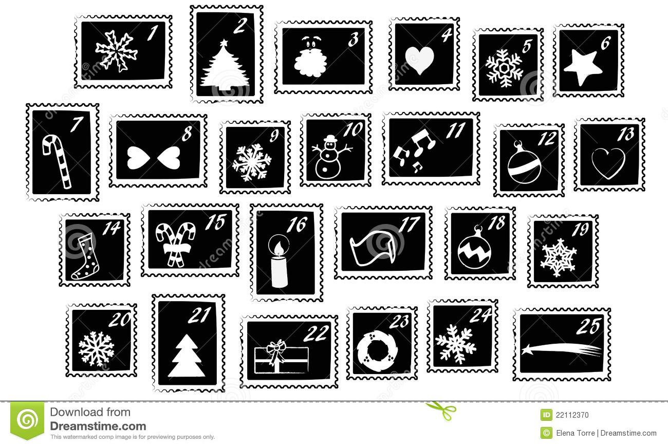 Advent calendar clipart. Christmas black and white
