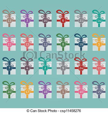 Advent calendar clipart. Vectors illustration of colorful