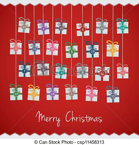 Advent calendar clipart. Clip art and stock