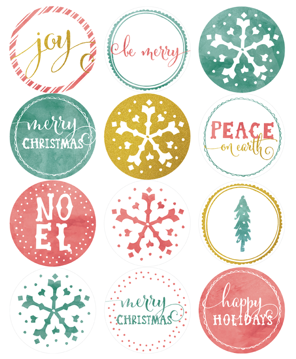 Advent calendar number clipart free gift tag jpg library library Free Printable Round Holiday Label Template, part of a collection by ... jpg library library