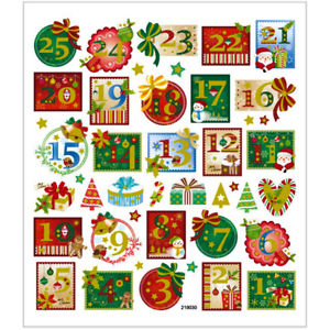 Advent calendar number clipart free gift tag svg freeuse library Details about Christmas Advent Calendar Numbers 1 - 24 Glitter Self  Adhesive Metallic Stickers svg freeuse library