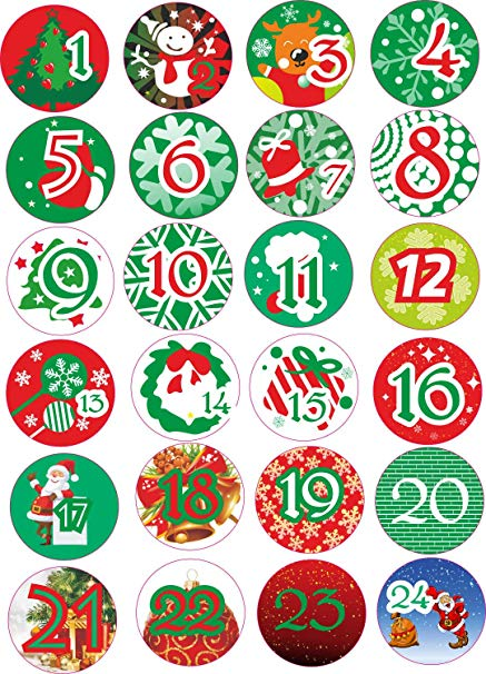 Advent calendar number clipart free gift tag graphic black and white INDIGOS UG - Advent Calendar Numbers Stickers 1 to 24 - colored Vintage -  Labels - Stickers - Christmas Calendar - Advent - Round - DIY - to stick on graphic black and white