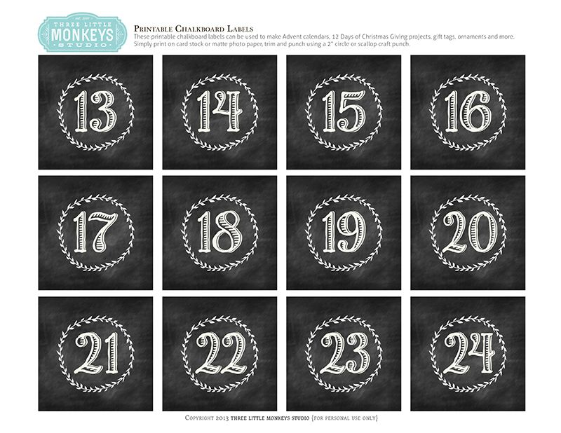 Advent calendar number clipart free gift tag png download Free Printables - Chalkboard Numbers for Gift Boxes and Advent ... png download