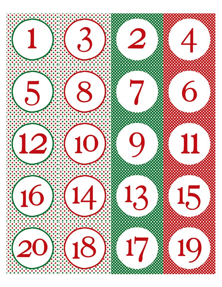 Advent calendar number clipart free gift tag image freeuse library Free Printable Christmas Calendar Numbers | Advent | Christmas ... image freeuse library