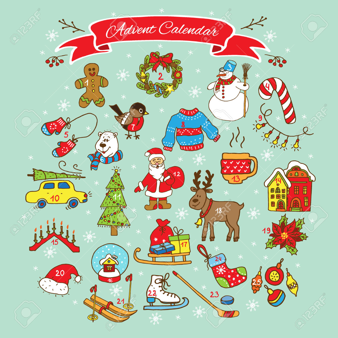 Advent calendar ornaments clipart picture library library 7,462 Advent Season Stock Vector Illustration And Royalty Free ... picture library library