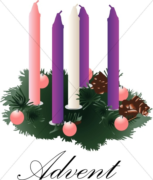 Advent wreathe clipart clipart transparent library Advent Wreath with unlit Candles | Advent Clipart clipart transparent library