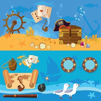 Adventure banner clipart graphic free download Pirate Adventure Banners Underwater Treasure Chest premium clipart ... graphic free download