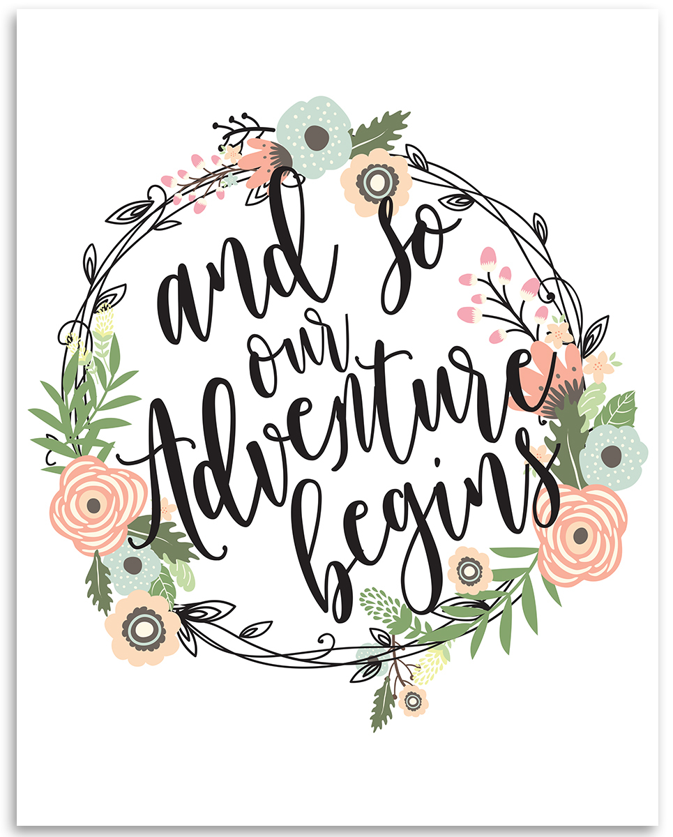 Adventure begins clipart png transparent And So Our Adventure Begins - 11x14 Unframed Typography Art Print ... png transparent