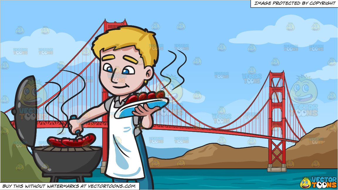 Adventure bridge clipart svg A Man Grilling Hot Dogs and The Golden Gate Bridge Background svg