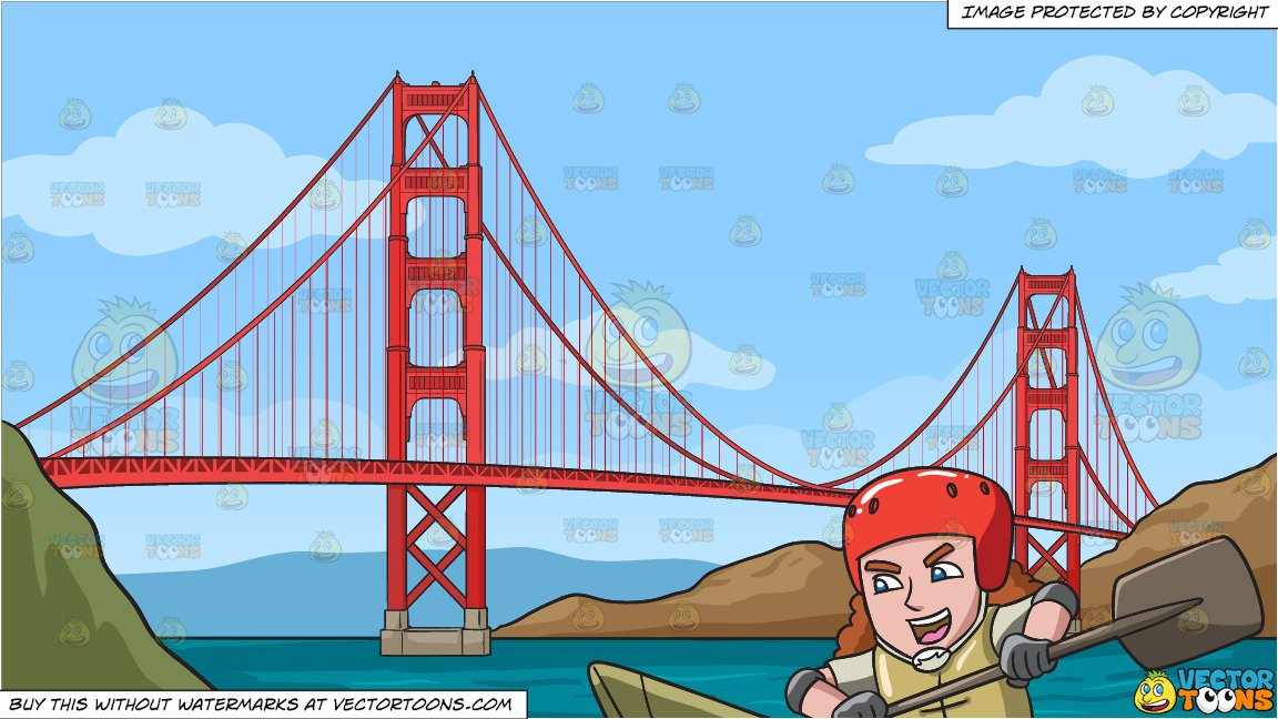 Adventure bridge clipart jpg transparent library A Man Excited For His Kayak Adventure and The Golden Gate Bridge Background jpg transparent library