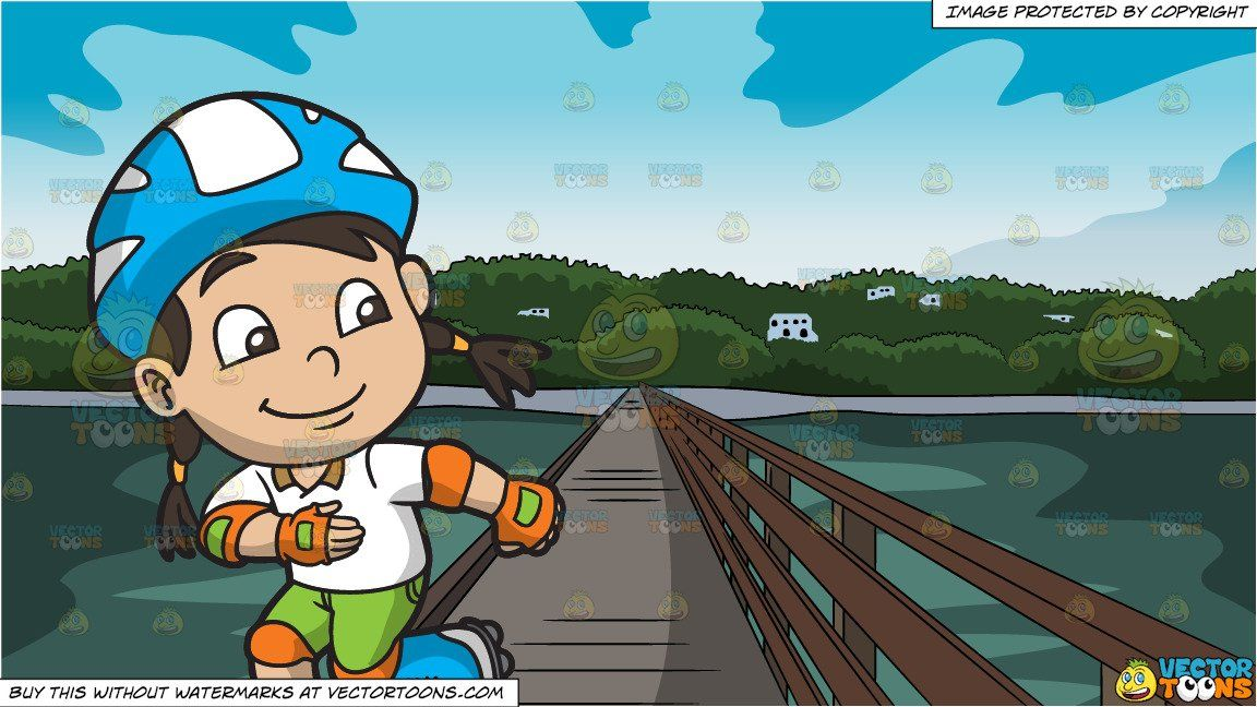 Adventure bridge clipart vector transparent stock clipart #cartoon A Happy Skater Girl and Bridge Leading To An Island ... vector transparent stock