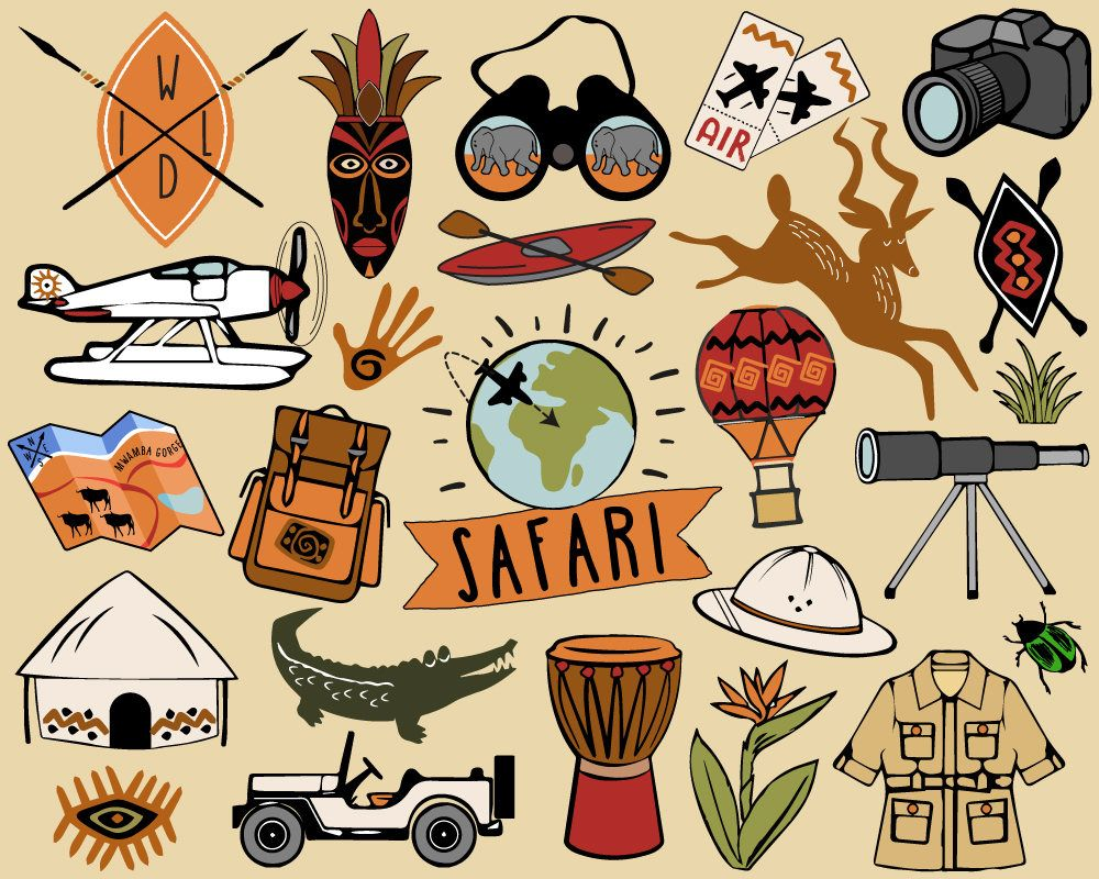 Adventure clipart images clip transparent download Safari Clipart, travel clipart, African safari clip art, hiking ... clip transparent download