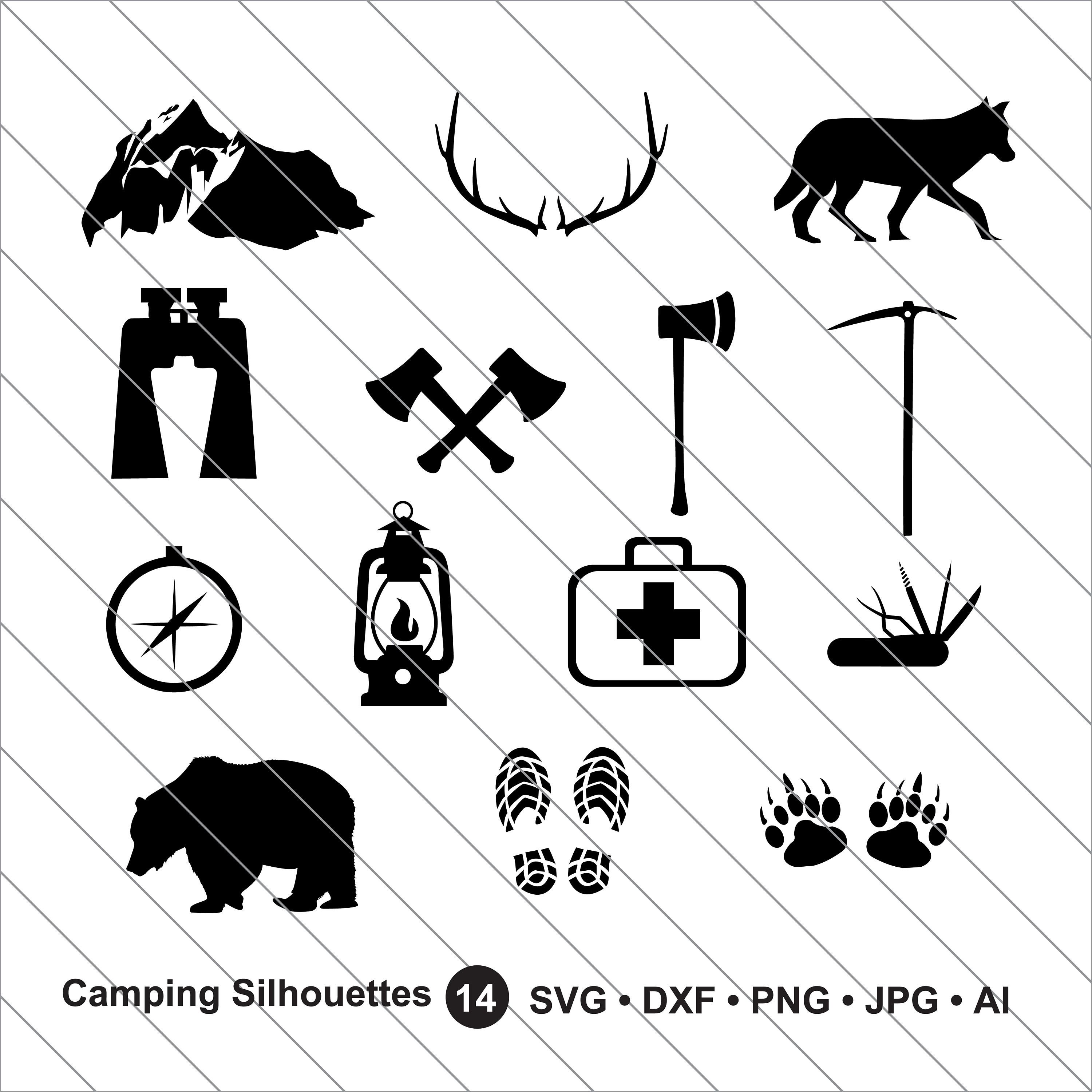 Adventure clipart sihlouette vector black and white Camping Silhouettes SVG, Adventure clipart,bundle svg,Adventure svg ... vector black and white