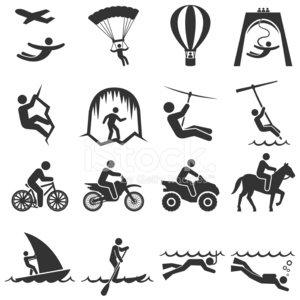 Adventure icon clipart black and white download Black and White Adventure Travel Icon Set premium clipart ... black and white download