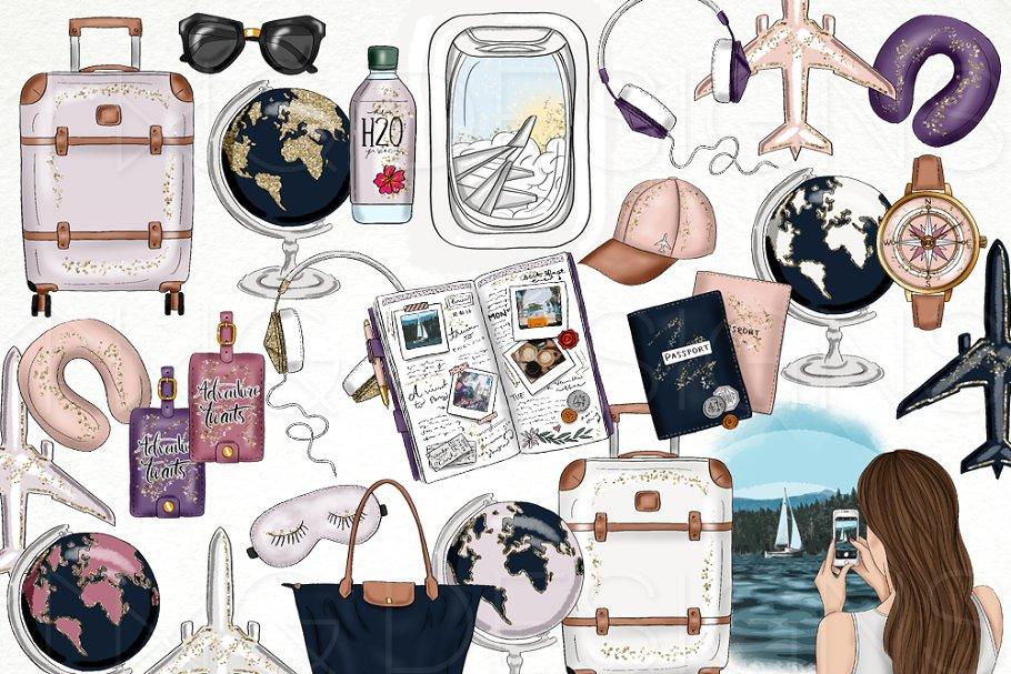 Adventuring clipart download Travel Fashion Girl Clip Art ~ Illustrations ~ Creative Market download
