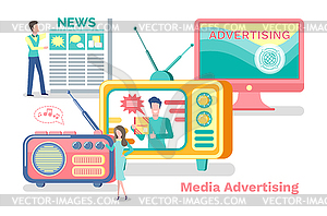 Advertisement clipart svg freeuse stock Media Advertisement, Sources of News Coming Set - vector clipart svg freeuse stock