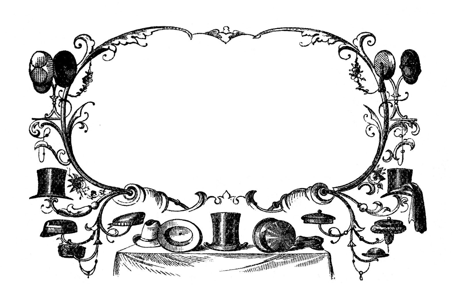 Advertising clipart black and white clipart black and white download Vintage Advertising Clip Art - Victorian Hats - The Graphics Fairy clipart black and white download