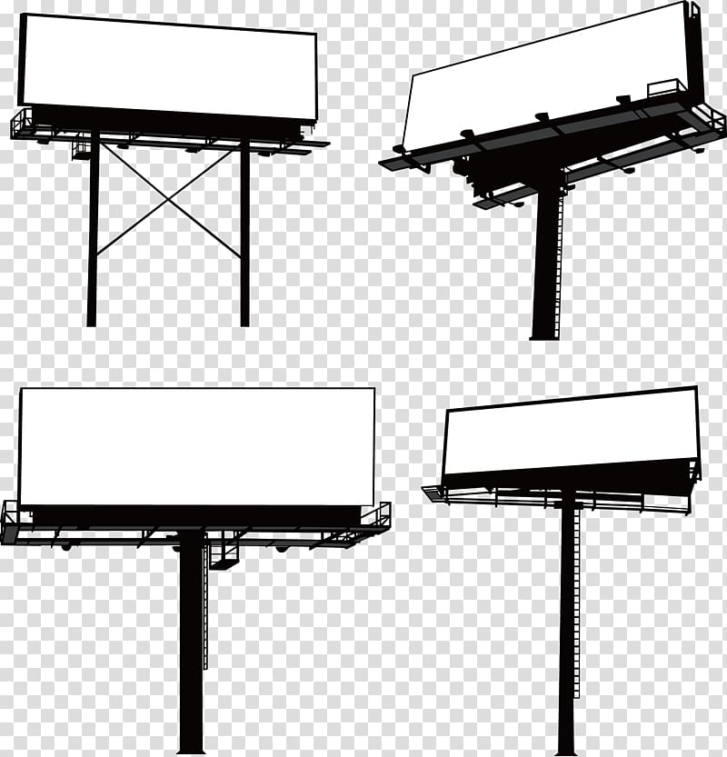Advertising clipart black and white clip art library library Four black-and-white billboard , Billboard Advertising Graphic ... clip art library library