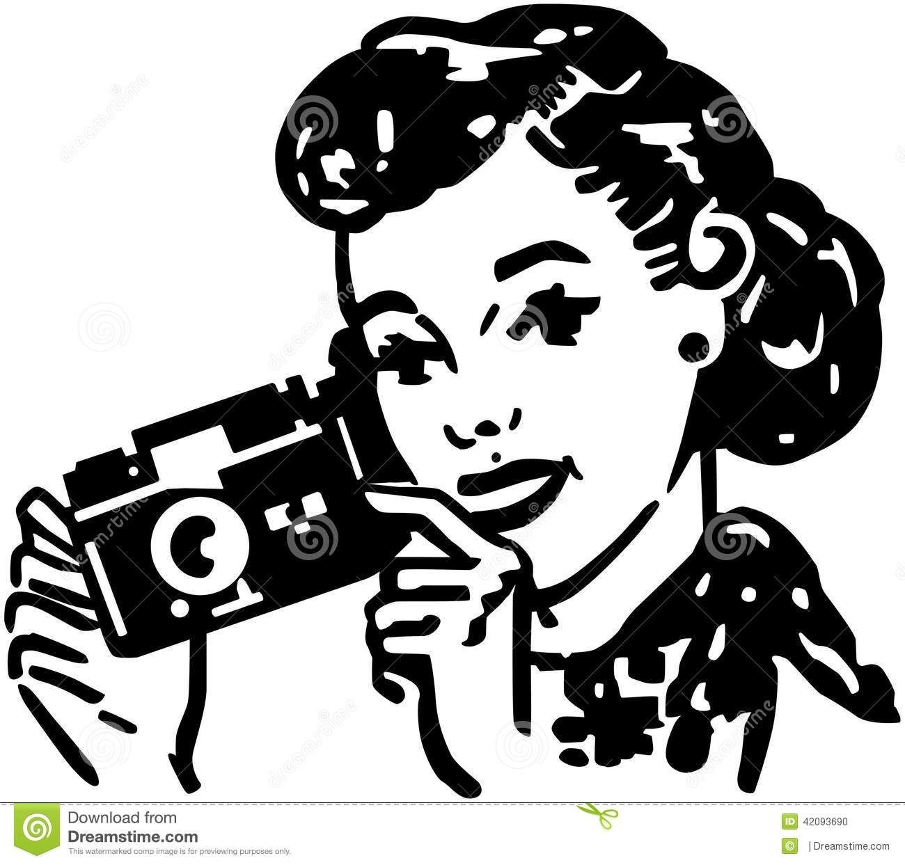 Camera lady clipart image clipart freeuse stock Woman With Camera Photo about beauty, forties, pretty, lady ... clipart freeuse stock