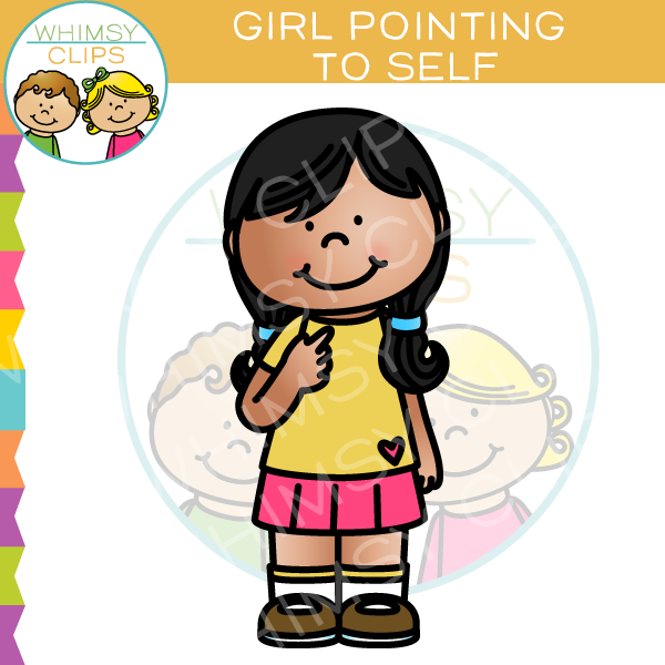 Aelf clipart banner free download Girl Pointing To Self Clip Art banner free download