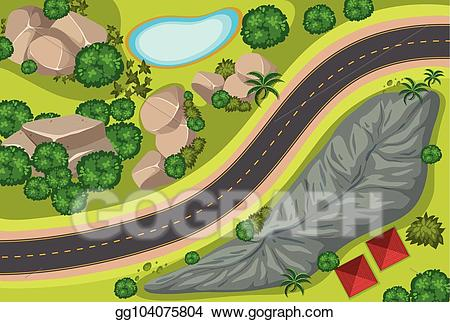 Aerial grass clipart clip art free download EPS Vector - Aerial view of road along the park. Stock Clipart ... clip art free download
