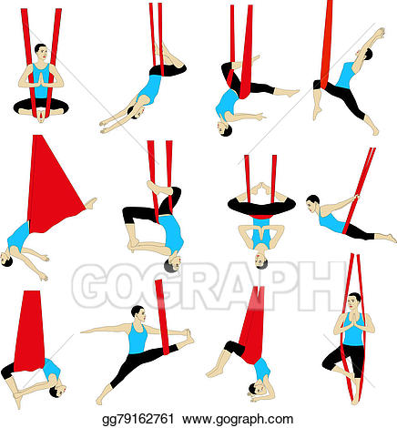 Aerial yoga clipart vector library Stock Illustration - Aerial yoga. Clipart Drawing gg79162761 - GoGraph vector library