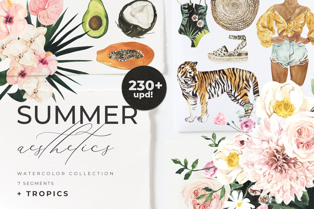 Aeshetic cliparts 200 svg freeuse library SUMMER AESTHETICS clipart + tropical ~ Illustrations ~ Creative Market svg freeuse library