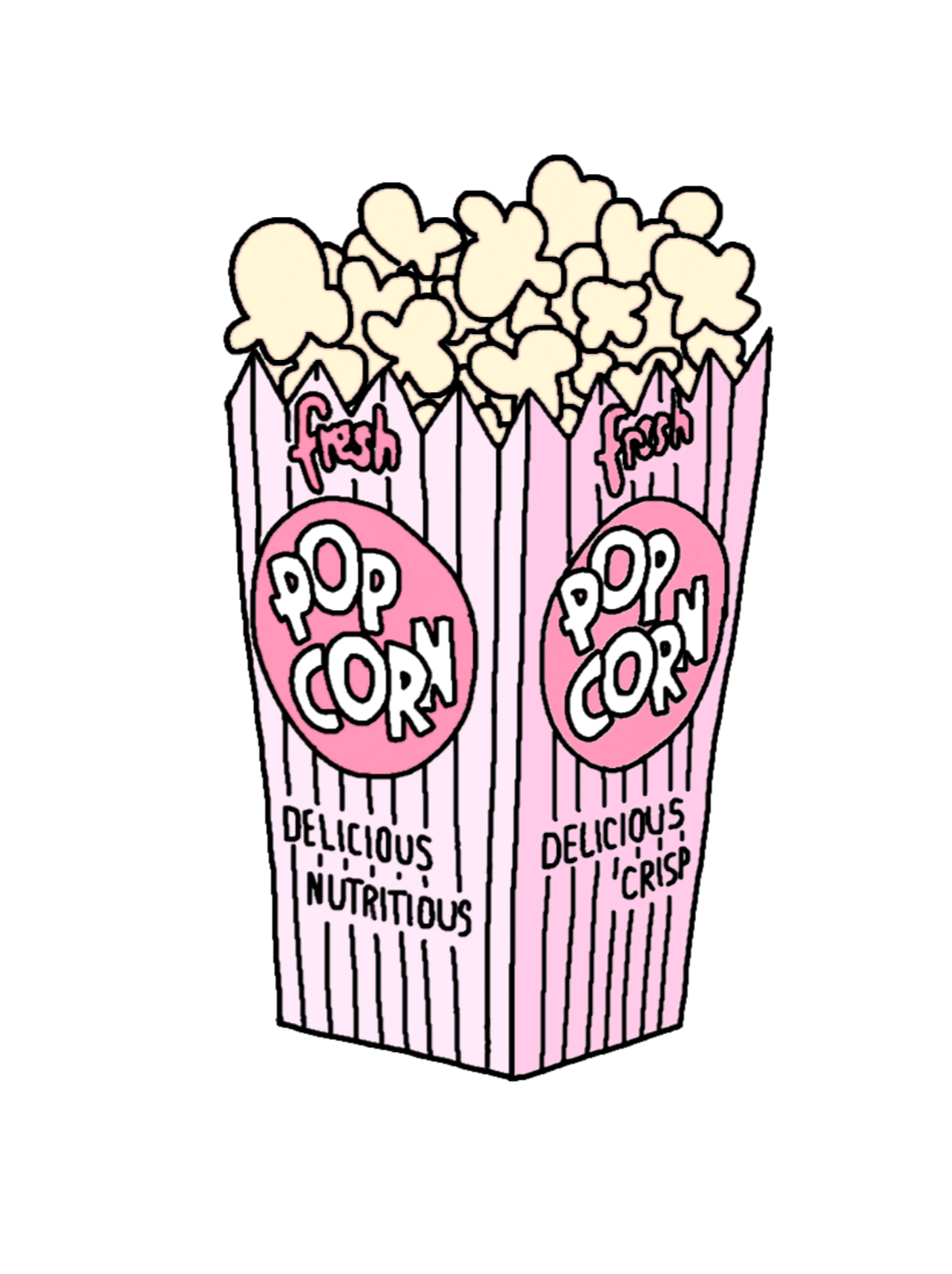Aesthetic popcorn clipart image black and white library popcorn tumblr funny food pink cinema fresh aesthetic... image black and white library