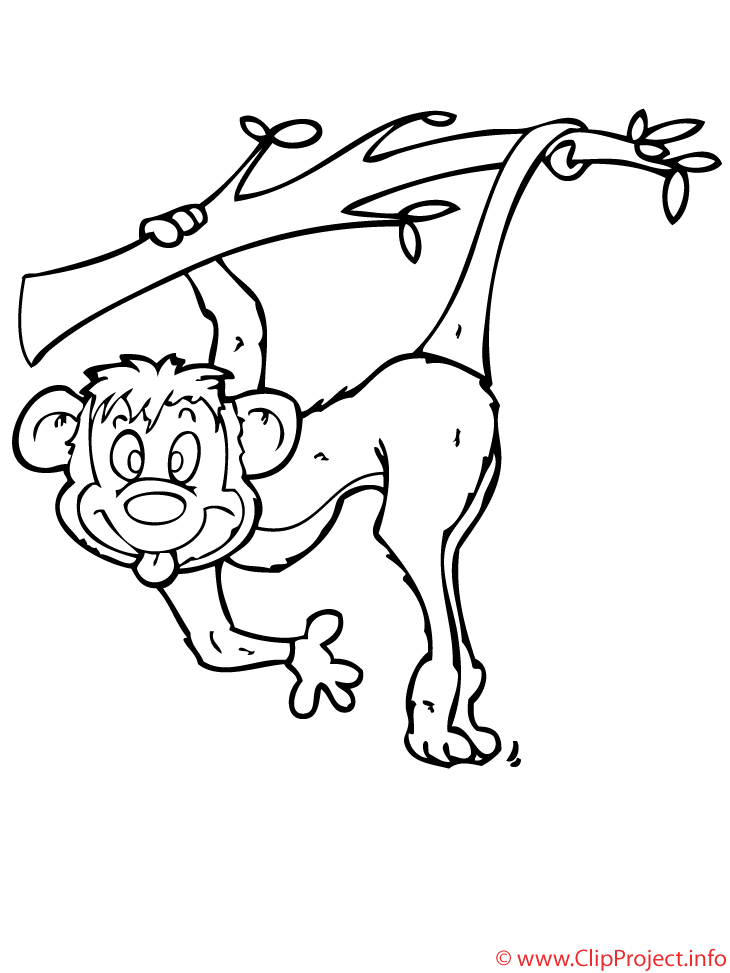 Affe clipart kostenlos picture free library Affe Malvorlage gratis - Zoo Malvorlagen picture free library