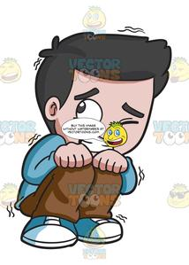 Afraid boy clipart banner stock A Scared Young Boy banner stock