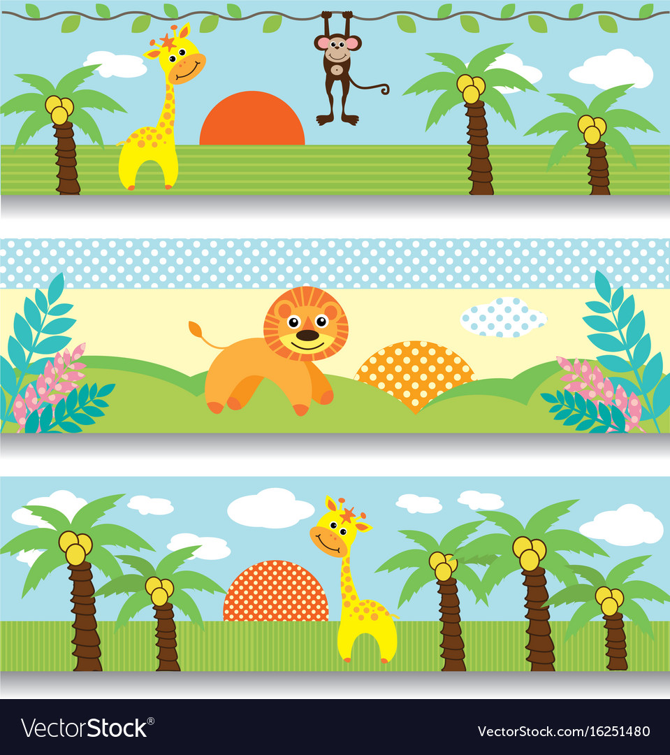 Africa clipart vector clip art freeuse download Africa baby clipart giraffe monkey trees clouds clip art freeuse download
