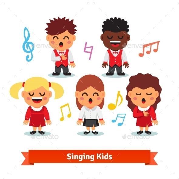 Africa group singing clipart clipart freeuse library Choir Of Kids Singing. Boys And Girls | Invitation card in 2019 ... clipart freeuse library