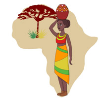 African womam clipart banner transparent download African Woman Holding Pot On Head With Map Of Africa Clipart ... banner transparent download