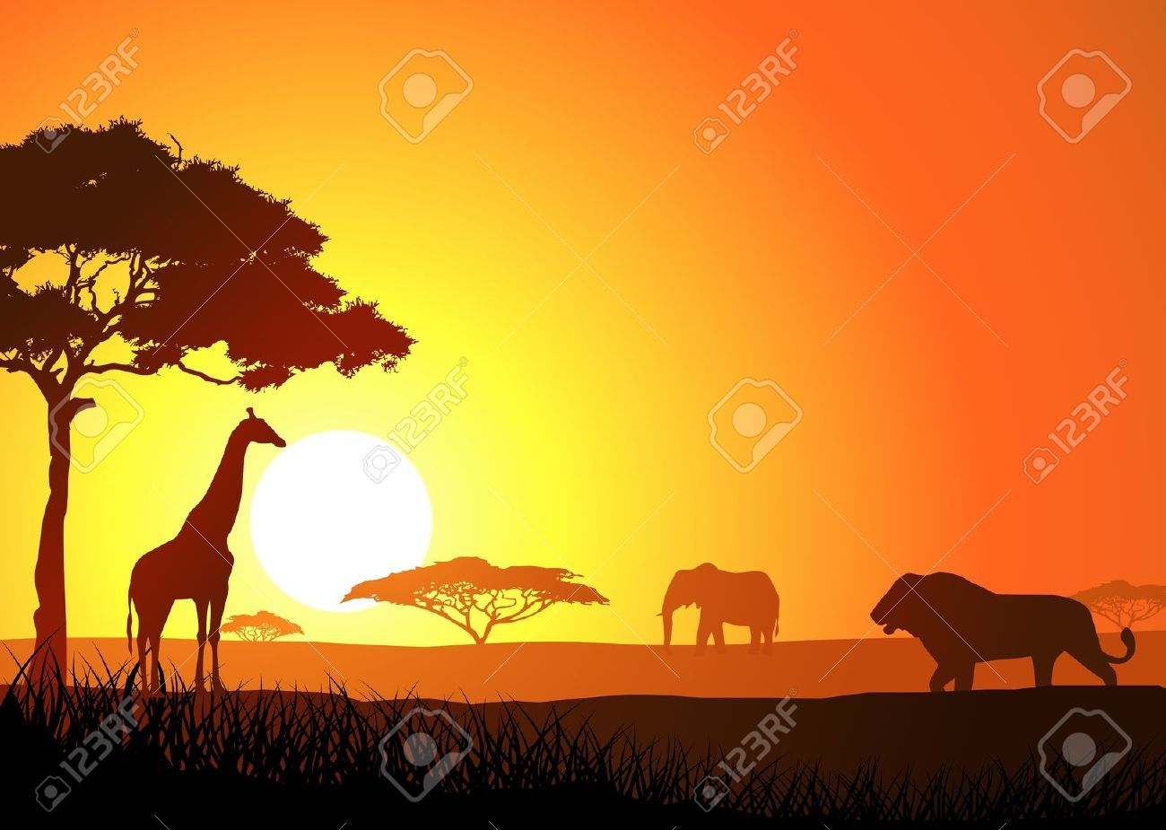 Africa savanas clipart vector royalty free download African Savanna Stock Vector Illustration And Royalty Free African ... vector royalty free download