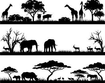 Vector illustrations and clipart safari black and white vector freeuse library Africa, African, Landscape, Safari, Scene, Savannah, SVG,Graphics ... vector freeuse library